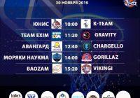 Расписание 30 ноября -1 декабря «Кубок АБЛ 2019-2020»