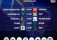 Расписание «Кубок АБЛ 2019-2020» на 01-02 февраля 2020 года