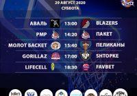 Расписание «Кубок АБЛ 2019-2020» на 29 — 30 августа 2020 года