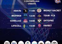 Расписание «Кубок АБЛ 2019-2020» на 5 — 6 сентября 2020 года